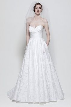 Watters Brides Mojave Gown Ivory Washed Silk Organza strapless soft folded ball gown, with self rouched belt and flower detail at waist.