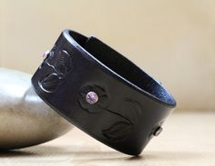 Flower Bracelet  Floral Black Leather by TinasLeatherCrafts. Repin To Remember.