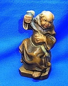 Vintage Italian Wood Carved Franco Drinking Monk Figurin