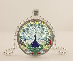 """Bohemian white Peacock bird, 1"""" glass and metal Pendant necklace Jewelry."""