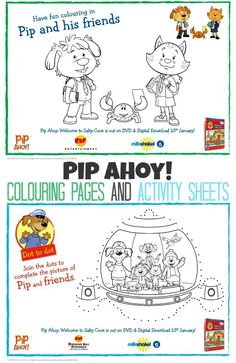 Are you on the look out for some Pip Ahoy Colouring pages and Activity Sheets to keep those kids entertained? We have a couple of Pip Ahoy colouring pages, and a dot to dot for you too. So, come on, Keep them busy!