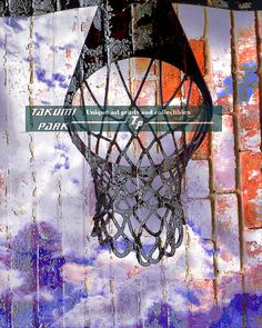Basketball art print. Great gift for people who love basketball or sports. Image of a basketball hoop on a brick wall. This wall art  has different sizes starting at 8x10. Basketball hoop art by Takumi Park. $15.88 and up.