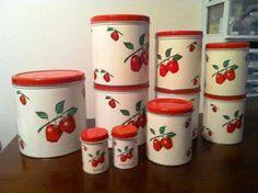 Vintage Apple Kitchen Canister Set With Salt Pepper Shakers