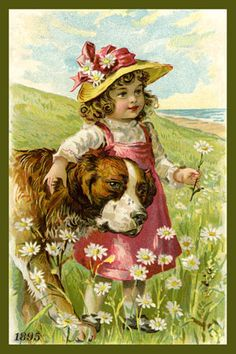 Quilt Block of Girl and Saint Bernard 1895 printed on cotton. Ready to sew.  Single 4x6 block $4.95. Set of 4 blocks with pattern $17.95.