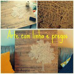Arte com linha e pregos. String Art.