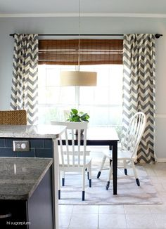 Transformed breakfast room with new west elm chevron drapes