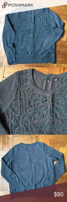 """Anthropologie Crochet Front Sweater Pull on and go! A soft sweater with a crochet front with sheer lining. Front panel is 86% wool and 14% polyester. Sweater is 60% cotton, 30% nylon and 10% wool. 21.5"""" underarm to underarm and 24.5"""" L. Final image shows fit Anthropologie Sweaters Crew & Scoop Necks"""