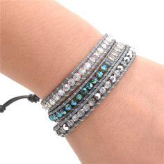 Grey Crystal Stone Wrist Leather Wrap Bracelet