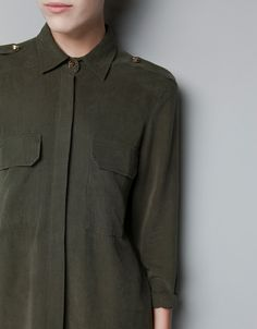 Overshirt with patch pocket; Military, army fashion inspired.