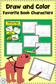 Draw your favorite book characters into a setting with this creative library center coloring activity. $