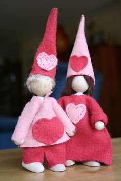 Valentine Gnomes as children's Valentine's Day gifts.