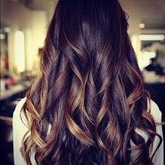 Long brown caramel slight ombre hair. Love.