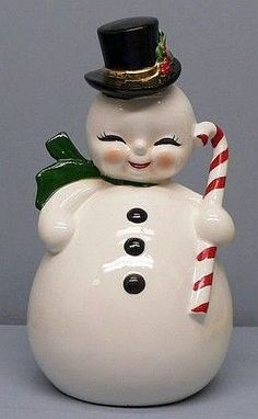 Home Interior Industrial Beautiful JOSEF Originals Snowman Planter for Christmas. Christmas Time Is Here, Old Fashioned Christmas, Antique Christmas, Christmas Past, Christmas Items, Christmas Snowman, Christmas Holidays, Snowman Party, Vintage Christmas Images