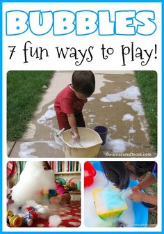 Bubbles make a great outdoor play activity! Here are seven fun ways to create and play with them.