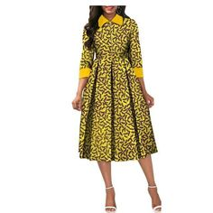 African Dresses for Women Dashiki Elegant Slim Africa Clothe, three quarter sleeve calf-length zipper A-line wax cotton dress for women Size African Attire, African Wear, African Women, African Style, Short African Dresses, African Fashion Dresses, Office Dresses For Women, Suits For Women, African Traditional Dresses