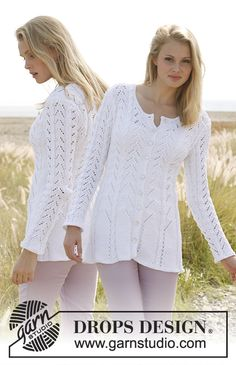 """Free Pattern  Rosalinde by DROPS Design Knitted DROPS fitted jacket with lace pattern and cables in """"Muskat"""". Size: S - XXXL."""