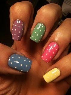Nail Art Designs 💅 - Cute nails, Nail art designs and Pretty nails. Chloe Nails, My Nails, Fancy Nails, Pretty Nails, Nice Nails, Simple Nails, Polka Dot Nails, Polka Dots, Cheetah Nails