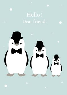 Hello dear friend / Affiche déco pour chambre d'enfant / Pingouin / Mint / Kids / Vintage / Scandinave / Children's room. Illustration