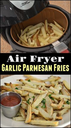 Toss these EASY homemade air fryer french fries in some garlic and Parmesan cheese for a delicious snack or side dish.