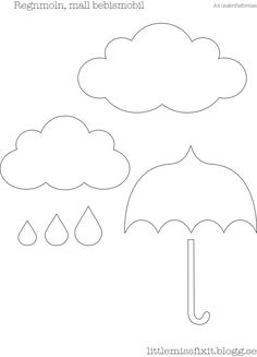 Nuven e guarda chuva Quiet Book Templates, Felt Templates, Quiet Book Patterns, Felt Patterns, Felt Crafts, Diy And Crafts, Crafts For Kids, Initial Canvas, Cloud Party