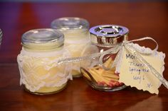 """Cute gift! A candle wraped in lace with a jar of matches stating: """"Mom, thanks for lighting the way."""""""