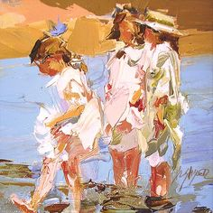 """Children on the Beach""after Edward Henry Potthast By artist Sally Shisler Paintings I Love, Beautiful Paintings, American Impressionism, Illustrations, Beach Art, Figure Painting, Figurative Art, Pixel Art, Portraits"