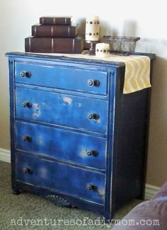 Blue dresser distressed