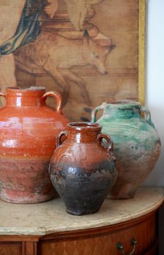 """french olive jars in my kitchen""  Colette at la Bronteuse..."