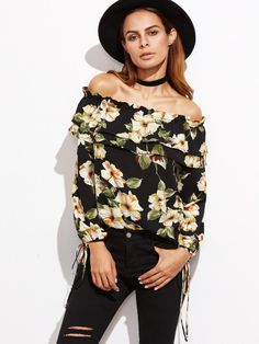 511eca7a79 Shop Flower Print Ruffle Off The Shoulder Tie Sleeve Top online. SHEIN  offers Flower Print Ruffle Off The Shoulder Tie Sleeve Top   more to fit  your ...