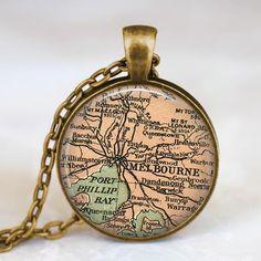 Melbourne map  necklace,  Melbourne map pendant ,  Melbourne Australia glass dome pendant,map jewelry on Etsy, $14.00
