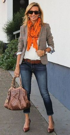 30 Beautiful Jeans Outfit Trends for Women - Outfits for work Casual Work Attire, Business Casual Outfits For Women, Trendy Fall Outfits, Spring Work Outfits, Casual Work Outfits, Mode Outfits, Classy Outfits, Fashion Outfits, Office Outfits