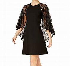 82873c1cf86e Calvin Klein NEW Deep Black Womens Size 12 Lace Capelet Sheath Dress $159  183 #fashion