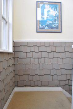 : shaker shingles on interior walls Cedar Shake Shingles, Cedar Shakes, Cedar Shingles, Happy New Home, Wall Exterior, Beach Wood, Young House Love, House Siding, Beach Cottage Decor