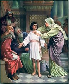 Jesus in the temple discussing his Father's business Luke 2: Obedience, Mother May I Game