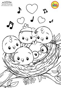 Cuties Coloring Pages for Kids - Free Preschool Printables - Slatkice Bojanke - Cute Animal Coloring Books by BonTon TV coloringpages coloringbooks cuties bojanke bontontv Bird Coloring Pages, Coloring Sheets For Kids, Halloween Coloring Pages, Free Coloring, Coloring Pages For Kids, Coloring Books, Coloring Pictures For Kids, Free Kindergarten Worksheets, Free Preschool