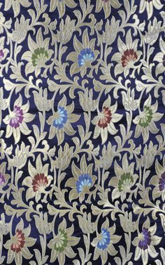 Astral Aura-Blue Brocade Fabric from Banaras with Golden Zari Weave