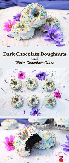 Dark Chocolate Doughnuts with White Chocolate Glaze via @2CookinMamas