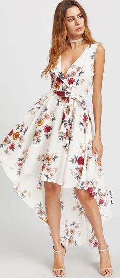 Surplice Neckline Florals Dip Hem Dress With Belt
