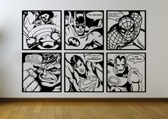 Comic Pop Art Mural Wall Stickers ft Batman | Superman | Iron Man | Sp – iwallstickers
