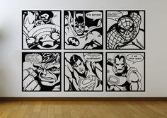 Comic Pop Art Mural Wall Stickers ft Batman   Superman   Iron Man   Sp – iwallstickers