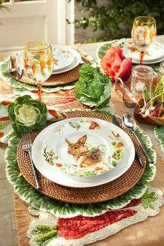 Love the green and orange in this Easter table. Check out the carrot painted glasses, placemats and cabbage napkin rings.