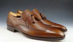 $269 MAGNANNI sz 11 WINGTIP TASSEL LOAFER 10129 MENS BROWN fits US 11