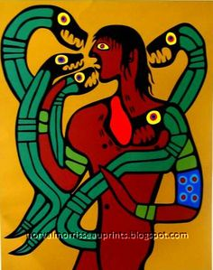 Self portrait: devoured by his own passions by Norval Morrisseau Native Canadian, Canadian Artists, Native American Art, Woodlands School, Create Words, First Nations, Art Google, Nativity, Self