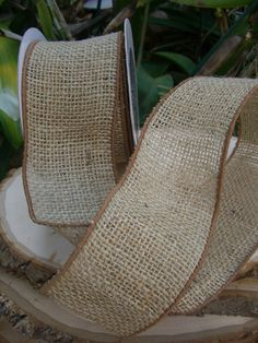 """Natural Wire Edge Burlap Ribbon 3""""  width 10 yards $13 each / 2 for $12 each"""
