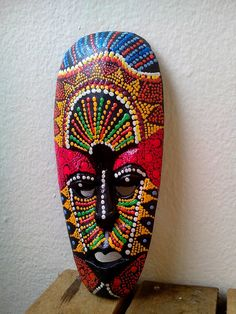 Wooden African Tribal Tiki Mask Hand Carved&Painted Wood Wall Decor M002 by AbourShop on Etsy