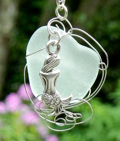 Mermaid Wire Wrapped Sea Glass Necklace/Pendant on Etsy, $30.00