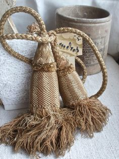 2 Antique Curtain Tassels Tie Backs French Chateau by BrocanteArt, £32.00