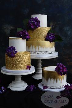 Gold and purple are so pretty! Purple Cakes, Purple Wedding Cakes, Elegant Wedding Cakes, Elegant Cakes, Wedding Cake Designs, Wedding Cake Toppers, Lace Wedding, Pretty Cakes, Beautiful Cakes