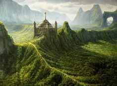Fantasy Castle covered of Moss