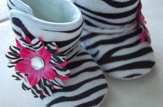 Zebra Hot Pink Baby Boots 06 Months READY TO SHIP by Unikbaby, $10.00